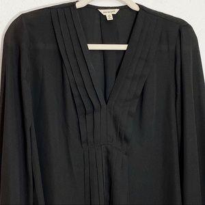Max Studio Black Pleated Long Sleeve Blouse